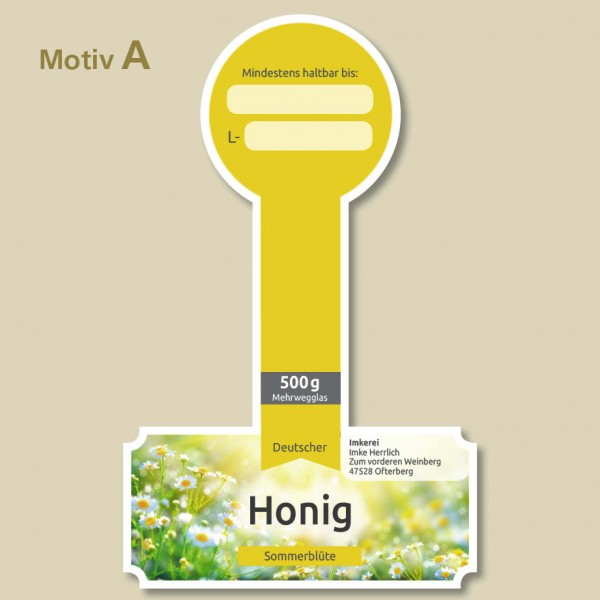 Honigetiketten mit Deckelsiegel Motiv A