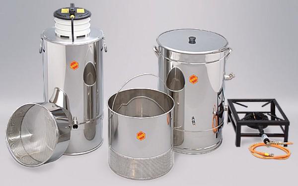 Dampfwachsschmelzer WS (links im Bild)